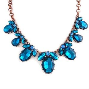 Blue Zircon and Rose Gd Necklace, NWT